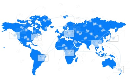 distribute: white envelope on blue world map show world network Stock Photo