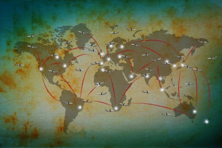 express delivery: air plane flying on classic world map use for world destination background