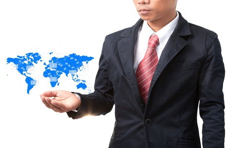 business man and hand holding world map of data and information network photo