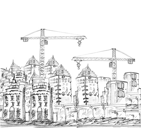 sketching of modern building and construction black and white photo