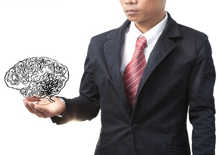 business man and smart brain on white photo