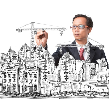 man drawing modern building construction  use for city construction theme Stock Photo - 18344237