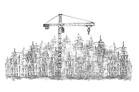 sketching of building construction on white Stock Photo - 18344255