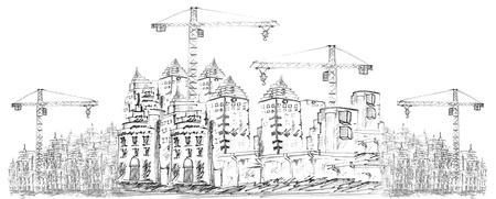 sketching of building construction on white Stock Photo - 18344253