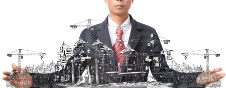 project management: sketching of building construction on white Stock Photo