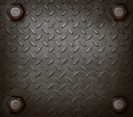 tread plate: path of hard metal and knot use for grungy background show used texture Stock Photo