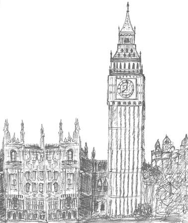building sketch: sketching of big ben london england