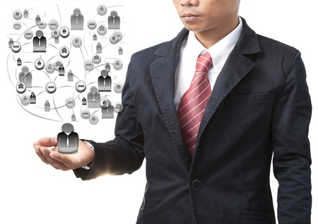 business man and team in connection on white Stock Photo - 18658333