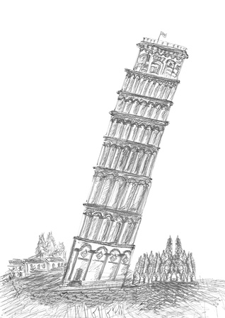 sketching by pen of Leaning Tower Pisa in Tuscany  photo