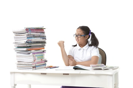 girl student and big of book on white background use for education theme photo