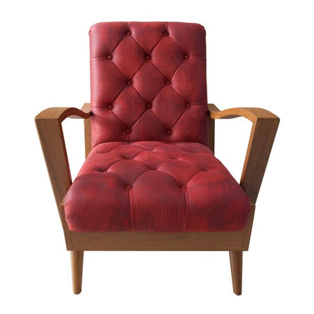 arm chair: red sofa isolated white for multipurpose
