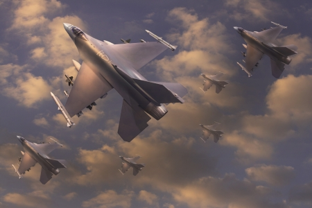 airpower: jet che volano sul cielo per tema la guerra Archivio Fotografico