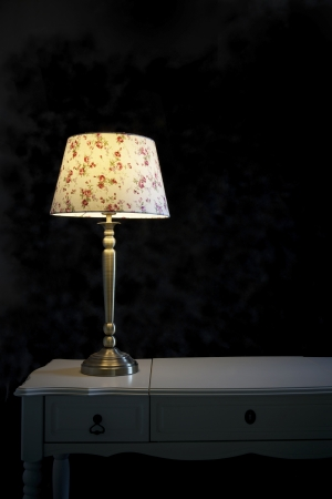 lamp shade: light lamp  on black background vertical form Stock Photo