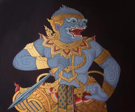hanuman: Wall painting at Grand Palace thailand  thai fine art named hanumarn