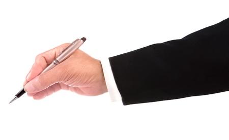 hombre escribiendo: mano de la escritura del hombre de negocios aislados en blanco Foto de archivo