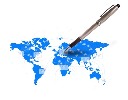 world wide: pen writing letter on world map concept fo communication theme Stock Photo
