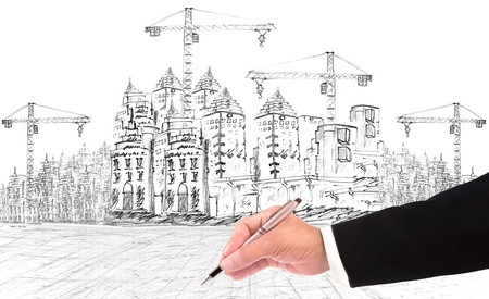 hand writing and buiding construction construction business theme photo