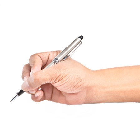 hand with luxury pen isolated on white use for multipurpose