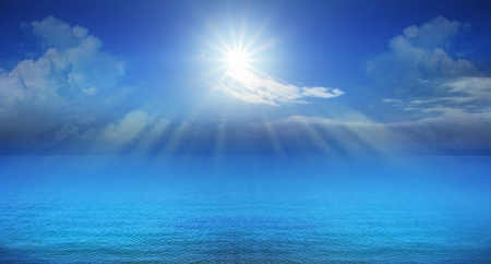 panorama of blue sky and sun shining use as natural background photo