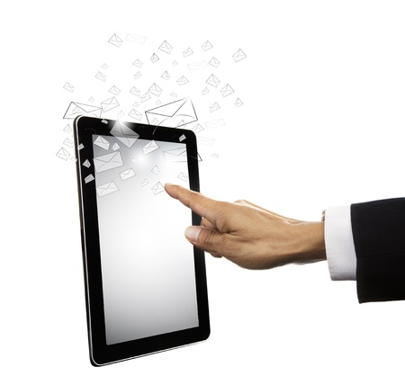 hand touching on computer tablet screen photo
