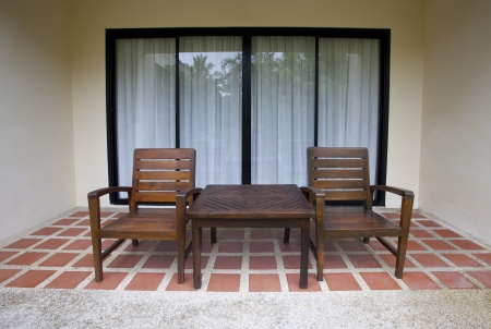 wood chairs at home terrace use for multipurpose