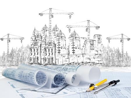 ingeniero civil: dibujo de construcción de edificios modernos y un plan de uso del documento de primer plano para el tema arquitectónico Foto de archivo