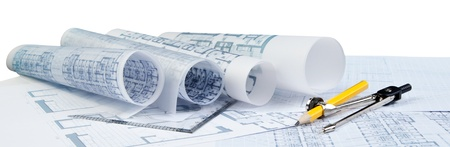 plan of architecture on white for construction industries theme photo