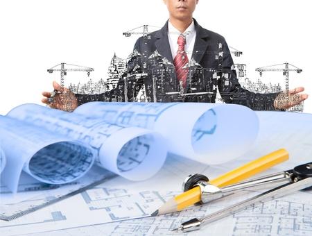 ingeniero civil: industria de la construcción y el uso del hombre de negocios para el tema de la construcción