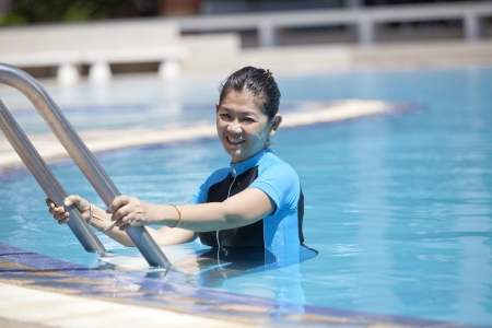 forty years old woman in swimming pool healthy theme photo