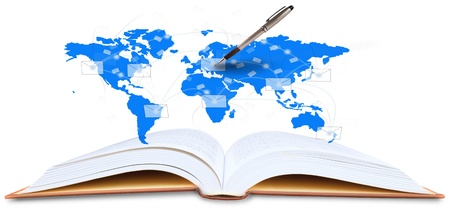 open book and world map with pen writing  photo