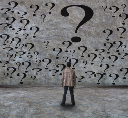 seeking an answer: young man and question use for abstract of a human life