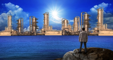 sea pollution: sketching of new building construction on blue sea water  for construction business theme