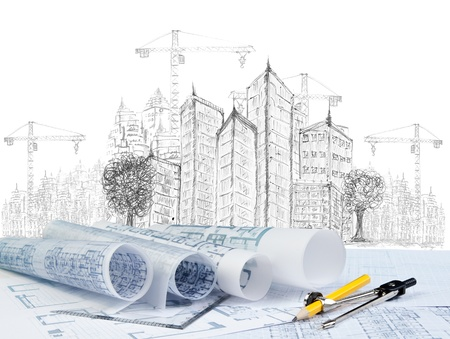 ingeniero civil: dibujo de construcción de edificios modernos y el uso de documento del plan para el tema de la construcción Foto de archivo