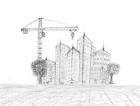 architect drawing: sketching of building construction