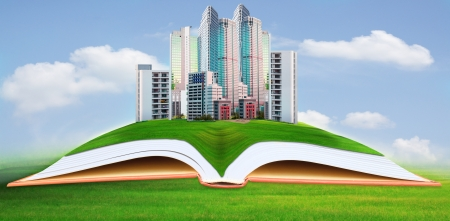 abstract of modern building on green grass field with blue sky background photo