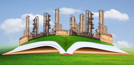 chemical engineering: petrochemical industry on green grass field good environment