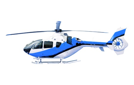 blue helicopter isolated white photo