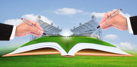 hand writing stadium on green grass use for construction and healthy theme photo