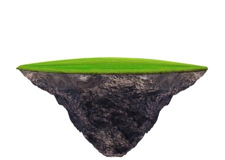 isla flotante: flotante campo de hierba verde en uso para el fondo blanco multiusos Foto de archivo