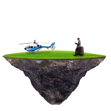 body scape: man standing with helicopter on green grass use for high class traveler