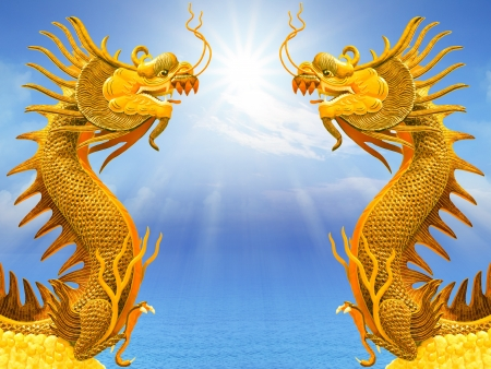 fantasy dragon: dragon and sunlight  on sea water use for multipurpose