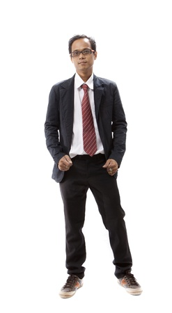 portrait of asian young man standing  isolated white photo