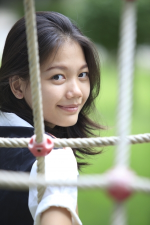 def: natural face with no make up of asian teen  shallow depth of field