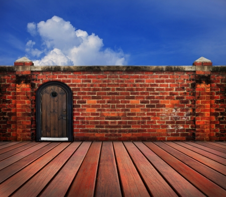 wood door on old brick wall use for multipurpose Stock Photo - 20411472