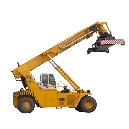forklifts: yellow  large forklifts isolated white use for multipurpose