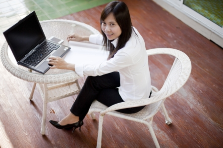 communicated: working woman working  outdoor her office place Stock Photo