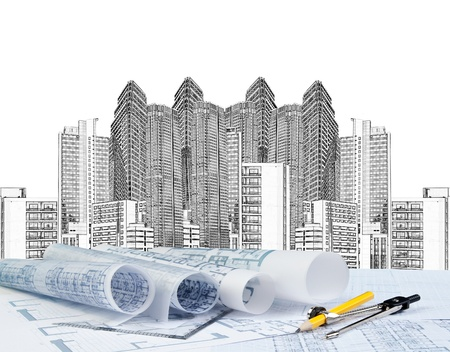 sketching of modern building and plan blueprint  Stock Photo - 20674073