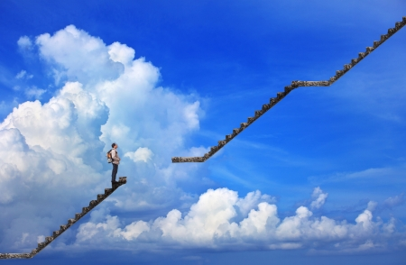 corporate ladder: man and broken step with blue sky background use for multipurpose Stock Photo