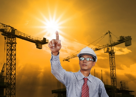 engineering man working in construction site use for construction industry business Stock Photo - 20780784