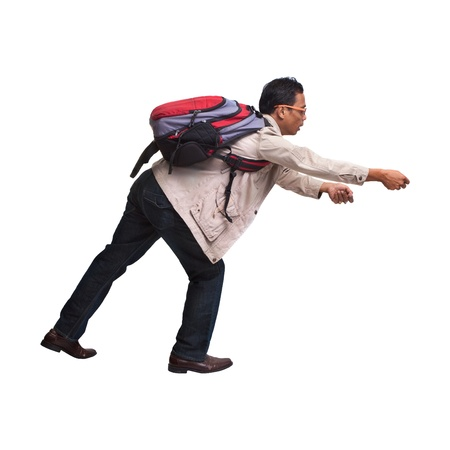 backpacker in acting on white background photo